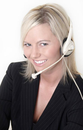 Woman with Headset - Telecommunications Systems
